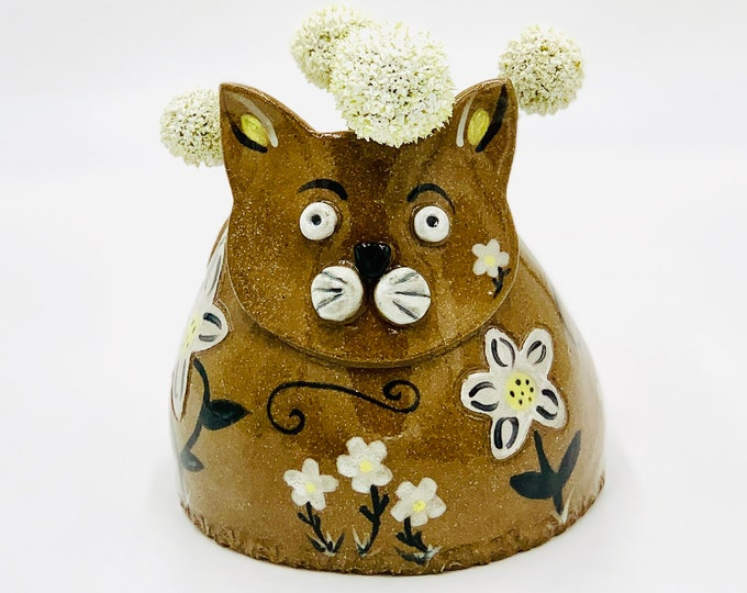 Hand Painted Cat Vase or Utensil Holder in Brown Clay Ceramic or Pottery Vase or Pencil Holder