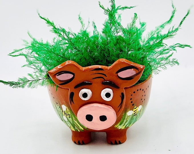Hand Painted Pig bowl in Terracotta Clay Ceramic or Pottery Vase or Pencil Holder