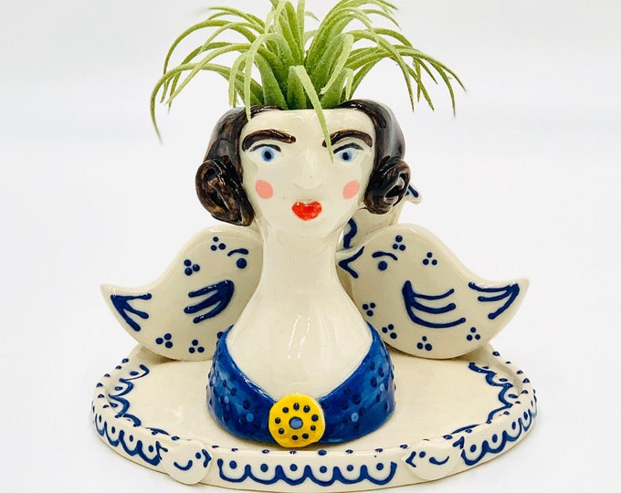 Blue and White Birdhouse Ceramic or Pottery Planter Head or Face Pot for Succulents or Plants