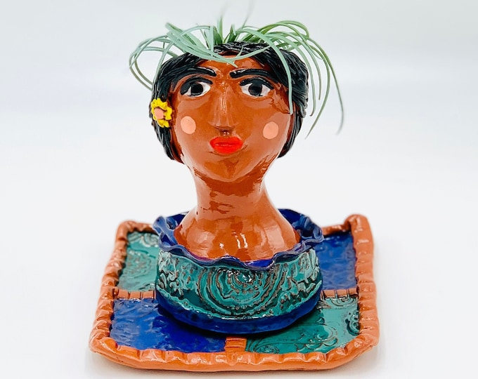Mexican Tile Terracotta Ceramic or Pottery Planter Head or Face Pot for Succulents or Plants