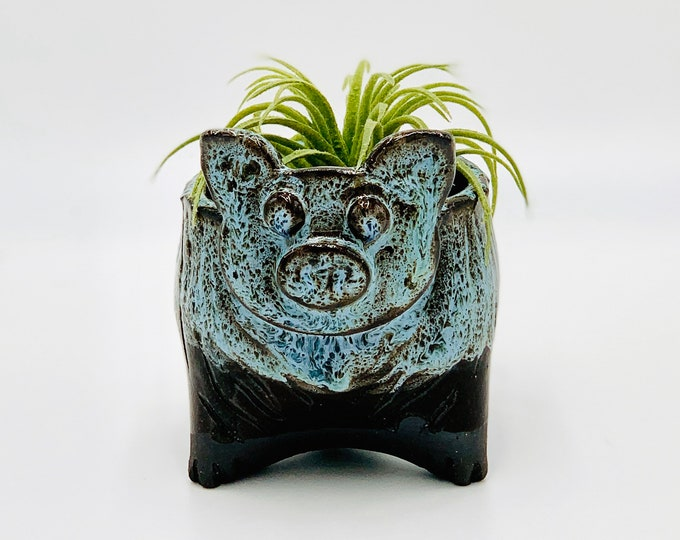Black Clay Pig Ceramic or Pottery Animal Bowl for Succulents, Change, Food, Candles, Trinkets or Jewelry