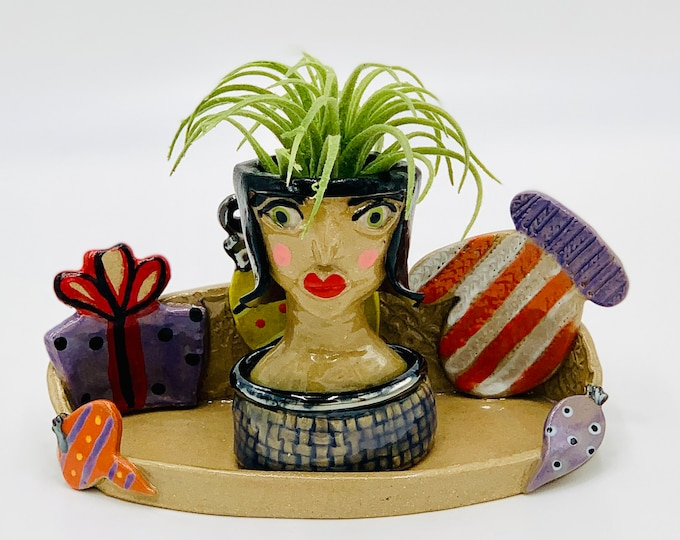 Retro Christmas in Buff clay Ceramic or Pottery Planter Head or Face Pot for Succulents or Plants