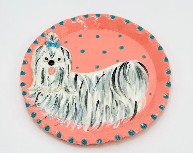 Shih Tzu Pottery or Ceramic Handmade Platter or Decorative Plate