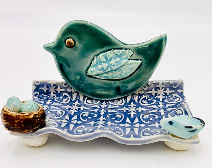 Blue Bird Ceramic Business Card Holder, Change, Tea Bags, Candles, Rings or for Decoration