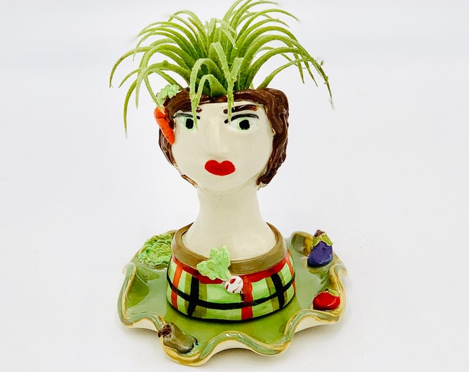 Veggie Lady Ceramic or Pottery Planter Head or Face Pot for Succulents or Plants