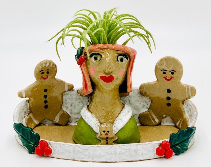 Gingerbread Girl in Buff clay Ceramic or Pottery Planter Head or Face Pot for Succulents or Plants