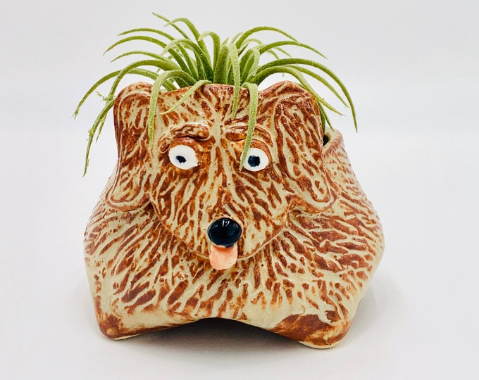 Furry White Clay Dog Ceramic or Pottery Animal Bowl for Succulents, Change, Food, Candles, Trinkets or Jewelry