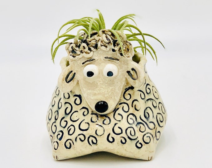 Sheep Ceramic or Pottery Animal Vase or Bowl for Succulents, Change, Food, Candles, Trinkets or Jewelry in White Clay