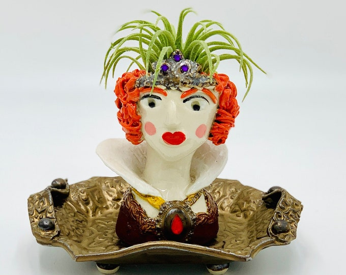 Mini Queen Elizabeth the First Ceramic or Pottery Planter Head or Face Pot for Succulents or Plants