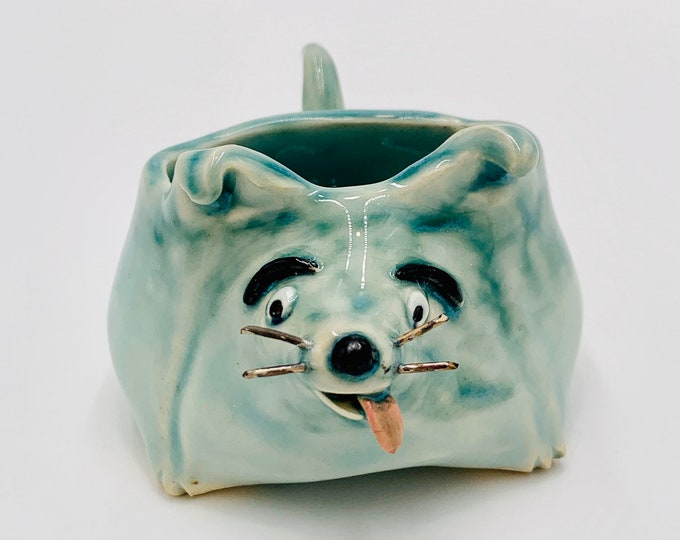 Aqua Small Dog Ceramic or Pottery Animal Bowl for Succulents, Change, Food, Candles, Trinkets or Jewelry