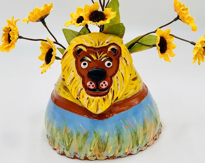 Ceramic Lion Vase or Utensil Holder in Terra Cotta Clay Pottery, Hand Painted