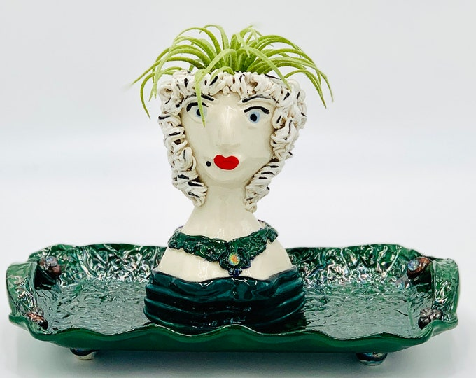 Emerald Aristocratic Lady Ceramic or Pottery Planter Head or Face Pot for Succulents or Plants