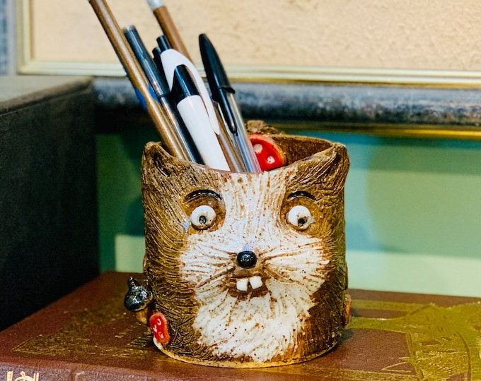 Chipmunk Speckle Clay Ceramic or Pottery Vase or Pencil Holder