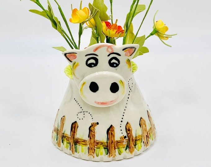 Hand Painted Pig Vase or Utensil Holder for Succulents in Porcelain Clay