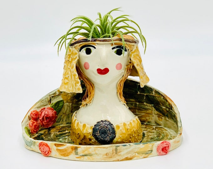 Castle Lady Ceramic or Pottery Planter Head or Face Pot for Succulents or Plants