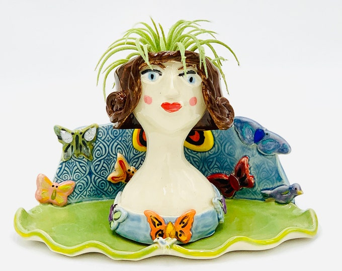 Butterfly Lady Ceramic or Pottery Planter Head or Face Pot for Succulents or Plants