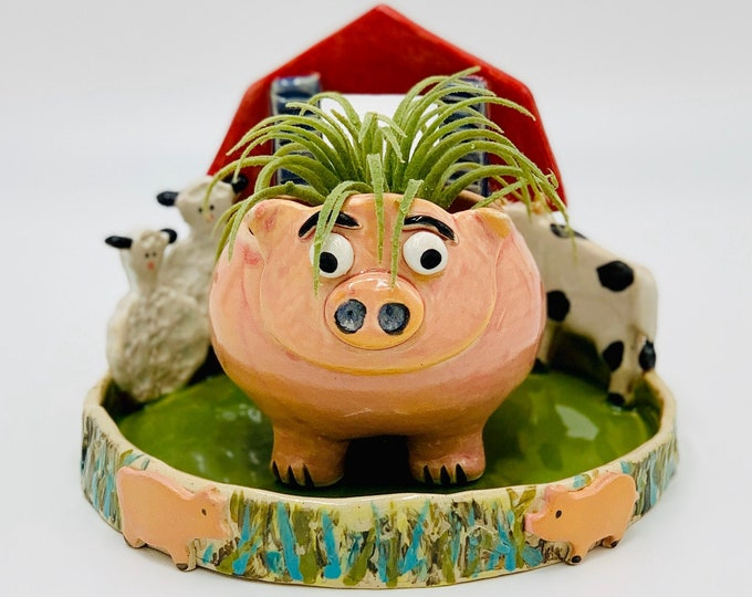 Pig in a Farm Scene Ceramic or Pottery Planter Head or Face Pot for Succulents or Plants