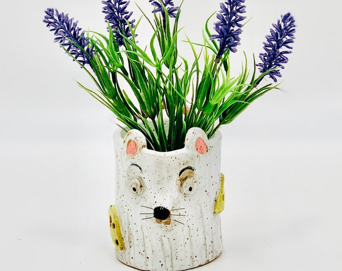 Mouse in Speckle Clay Ceramic or Pottery Vase, Pencil or Brush Holder