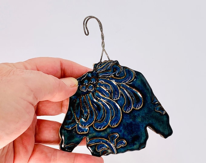 Sweater Ornament in Blue, Hand Made of Ceramic