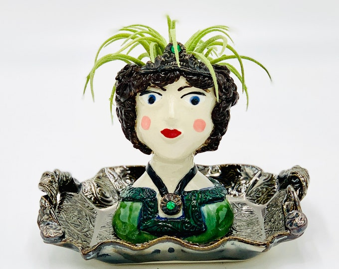 Small English Aristocrat Ceramic or Pottery Planter Head or Face Pot for Succulents or Plants