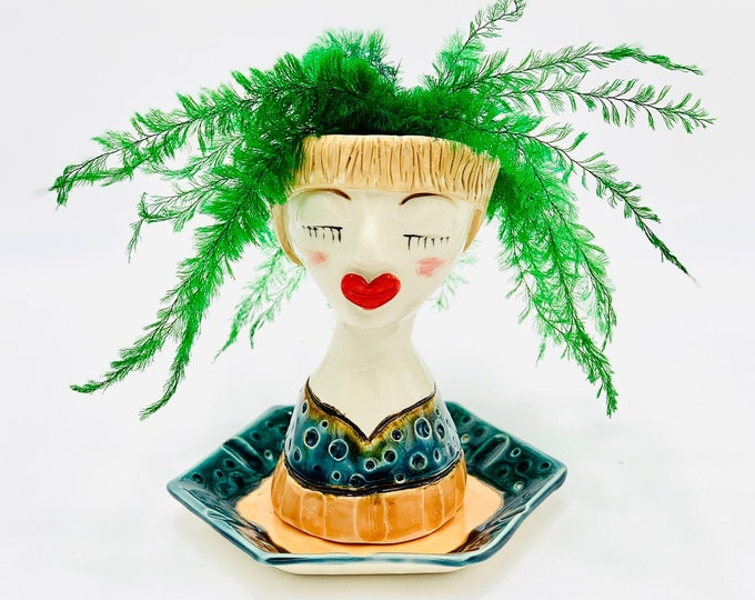 Peacock and Tangerine White Clay Ceramic or Pottery Planter Head or Face Pot for Succulents or Plants