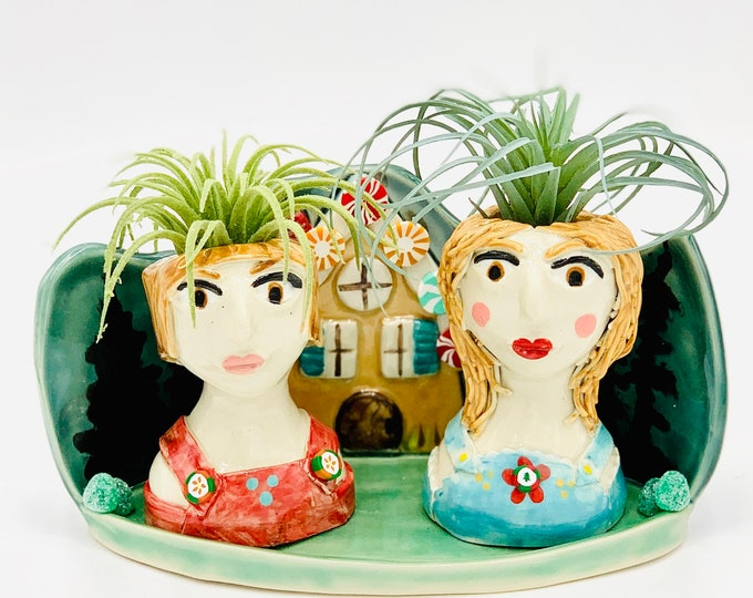 Hansel and Gretel Ceramic or Pottery Planter Head or Face Pot for Succulents or Plants
