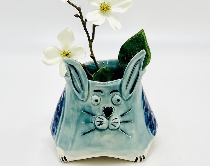 Blue Bunny Bowl for Succulents in Porcelain