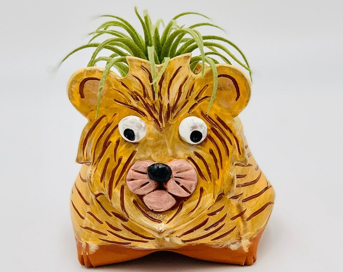 Lion in Terra Cotta Clay Ceramic or Pottery Animal Bowl for Pencils, Succulents, Change, Food, Candles, Trinkets or Jewelry