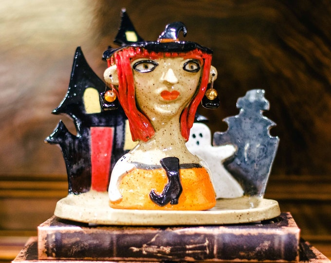 Halloween Witch Handmade Ceramic Face or Head Planter