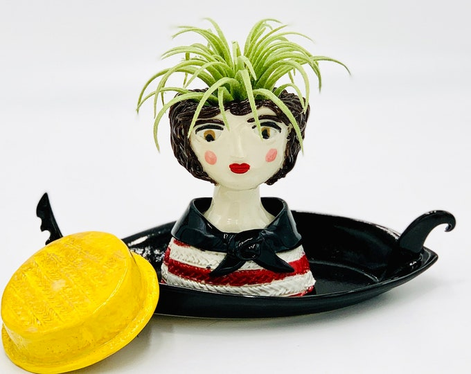 Venetian Gondolier Ceramic or Pottery Planter Head or Face Pot for Succulents or Plants