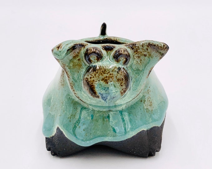 Blue and Black Small Clay Pig Ceramic or Pottery Animal Bowl for Succulents, Change, Food, Candles, Trinkets or Jewelry
