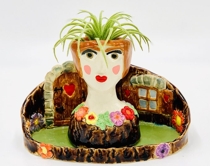 Flower Fairy Ceramic or Pottery Planter Head or Face Pot for Succulents or Plants