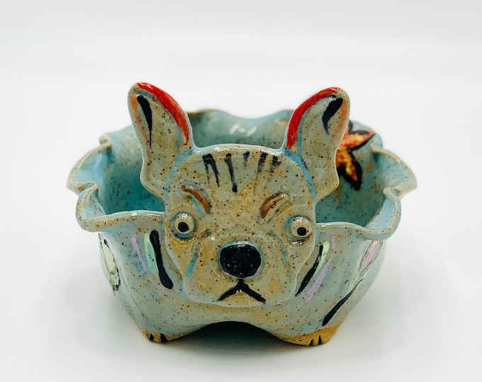 French Bulldog Bowl for Succulents in Blue Glaze, Flowers and Speckle Clay