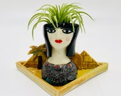 Egyptian Queen Ceramic or Pottery Planter Head or Face Pot for Succulents or Plants