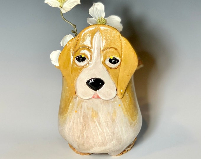Beagle or Dog Vase for Succulents, Hand Painted Ceramic or Pottery in Buff Clay