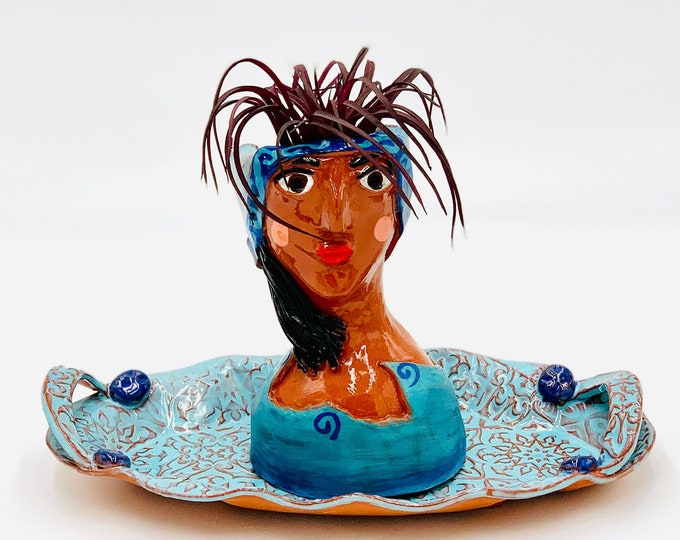 Blue Terra-cotta Tray and Lady Ceramic or Pottery Planter Head or Face Pot for Succulents or Plants