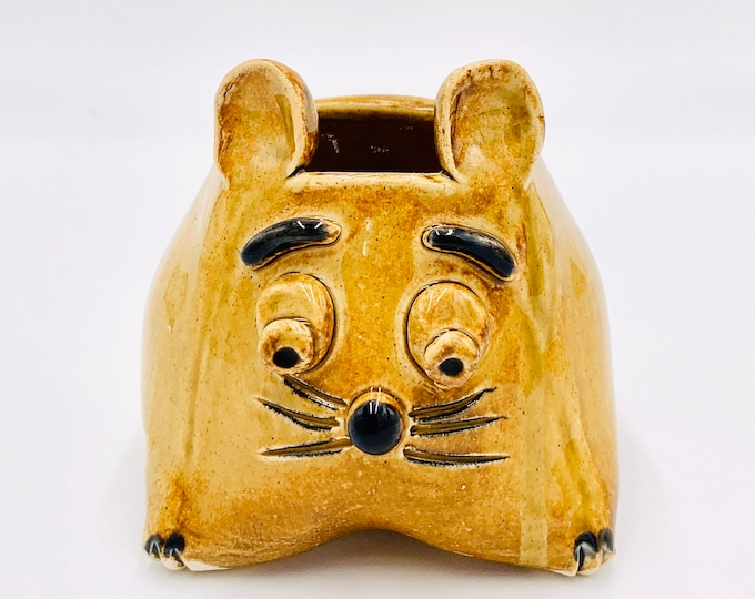 Amber Clay Mouse Ceramic or Pottery Animal Bowl for Succulents, Change, as a Vase or for Display