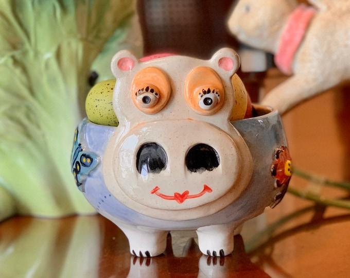Hippo in White Clay Ceramic or Pottery Vase or Pencil Holder