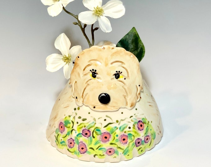 Dog Vase for Succulents, Pencils or Brushes, Hand Painted Ceramic or Pottery in White Clay