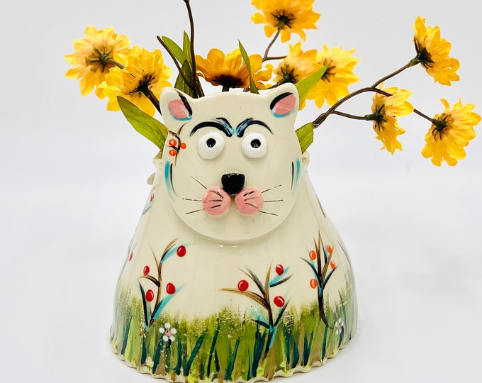 Hand Painted Cat Vase or Utensil Holder in White Clay Ceramic or Pottery