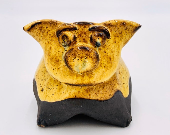 Yellow and Black Medium Clay Pig Ceramic or Pottery Animal Bowl for Succulents, Change, Food, Candles, Trinkets or Jewelry