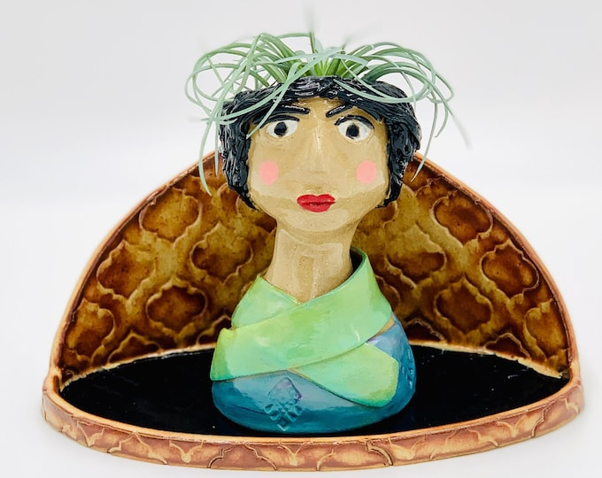 Arabesque Buff Ceramic or Pottery Planter Head or Face Pot for Succulents or Plants