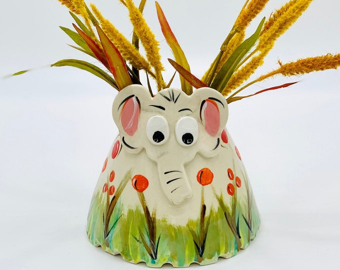 Hand Painted Elephant Vase or Utensil Holder in White Clay Ceramic or Pottery Vase or Pencil Holder