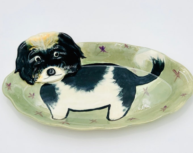 Daisy Dog Pottery or Ceramic Handmade Platter or Decorative Plate