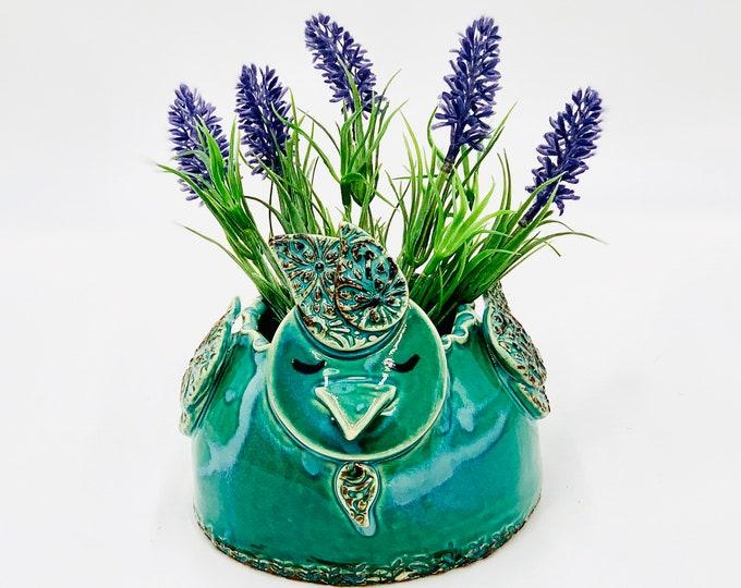 Jade Green Chicken Vase, or Brush Holder in White Clay Ceramic or Pottery