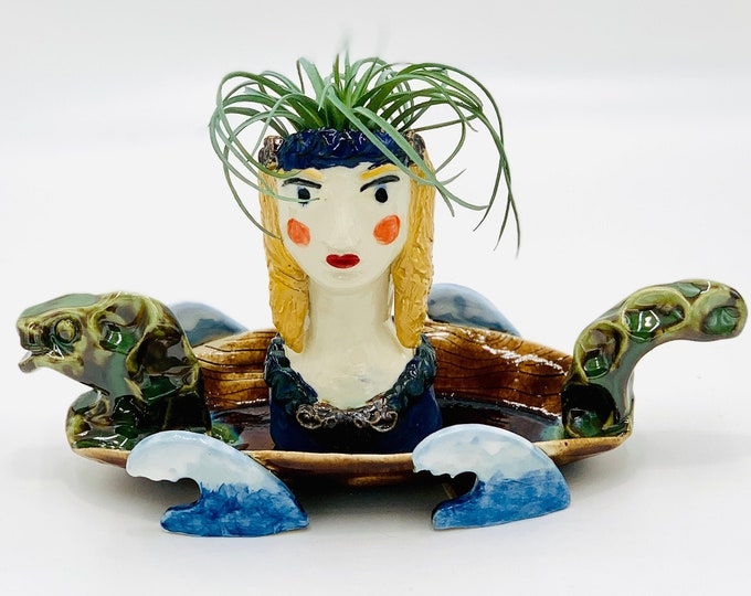 Viking Lady Ceramic or Pottery Planter Head or Face Pot for Succulents or Plants