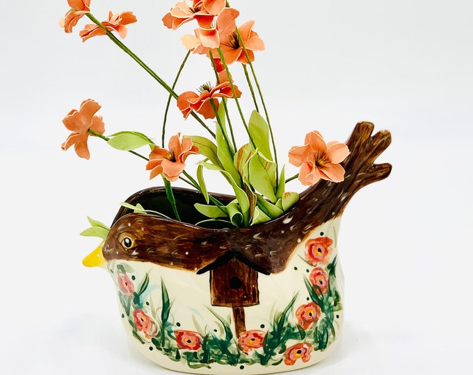 Hand Painted Bird Vase in White Clay