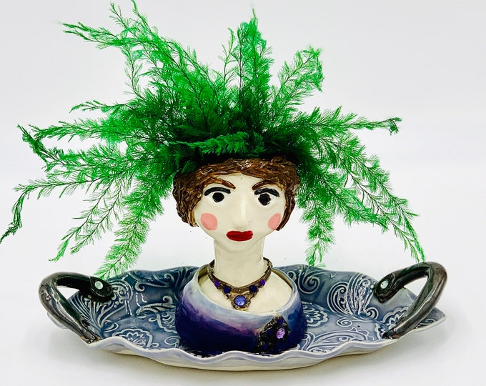 Paisley Lady Ceramic or Pottery Planter Head or Face Pot for Succulents or Plants