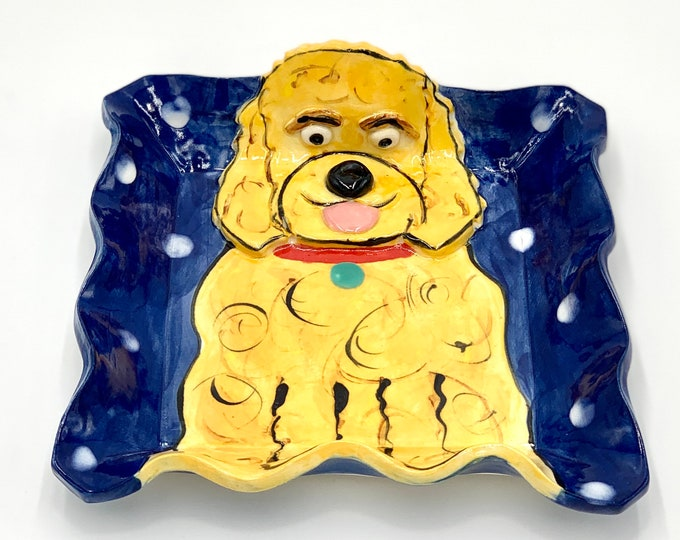 Goldendoodle Pottery or Ceramic Handmade Platter or Decorative Plate