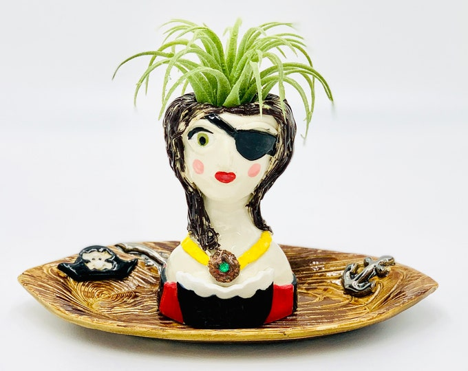 Pirate Wench Ceramic or Pottery Planter Head or Face Pot for Succulents or Plants